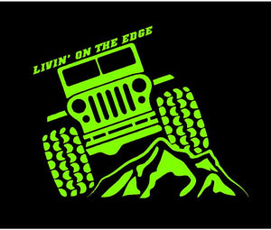 Jeep Life Livin on the Edge Decal Off Roading custom vinyl car truck window sticker