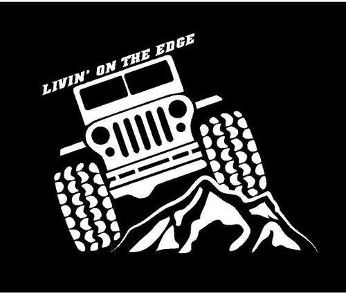 jeep life livin on the edge decal car truck window sticker