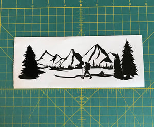 Mountains hiking hiker car truck window decal