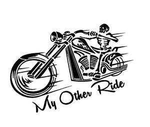 My Other Ride Skeleton Motorcyle Decal