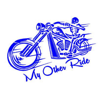 Load image into Gallery viewer, My other ride motorcycle skeleton car decal