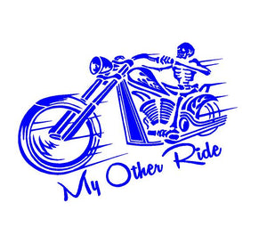 My other ride motorcycle skeleton car decal
