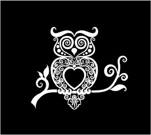 intricate owl decal car truck window sticker