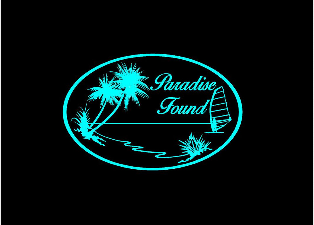 paradise found decal car truck window tropical sticker