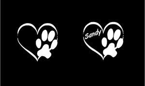paw print heart customizable decal car truck window dog loers sticker