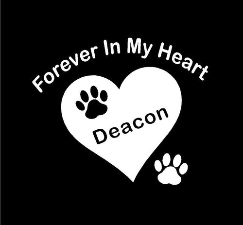forever in my heart pet memorial decal car truck window heart sticker