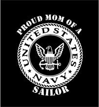 Load image into Gallery viewer, US Navy Proud Mom Dad Parent Decal car truck window sticker