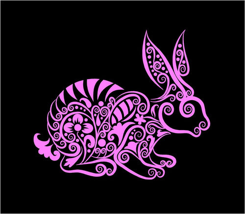 intricate bunny decal car truck window rabbit sticker