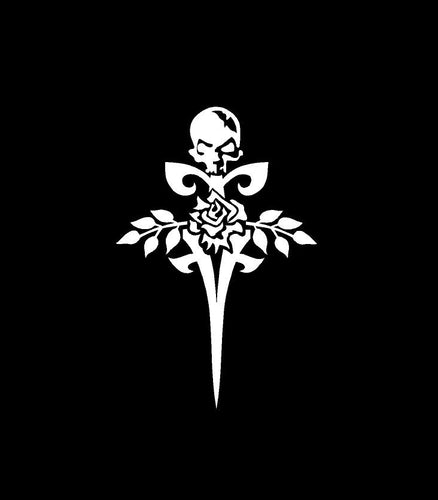 gothic rose skull sword decal car truck window sticker
