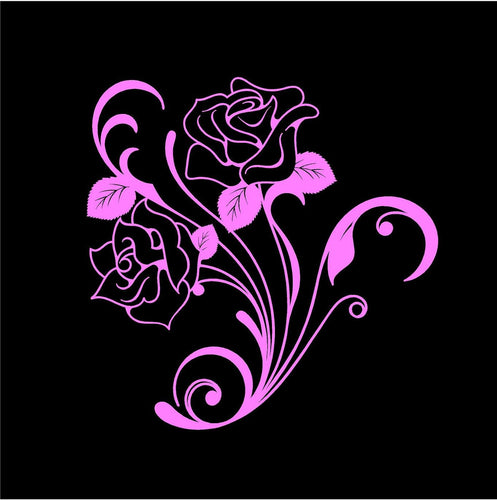 rose floral decal car truck window refrigerator sticker