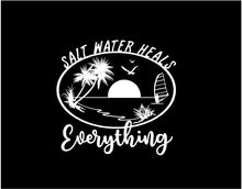 Load image into Gallery viewer, salt water heals everything decal car truck window ocean life sticker