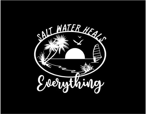 salt water heals everything decal car truck window ocean life sticker
