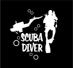 scuba diver car window decal