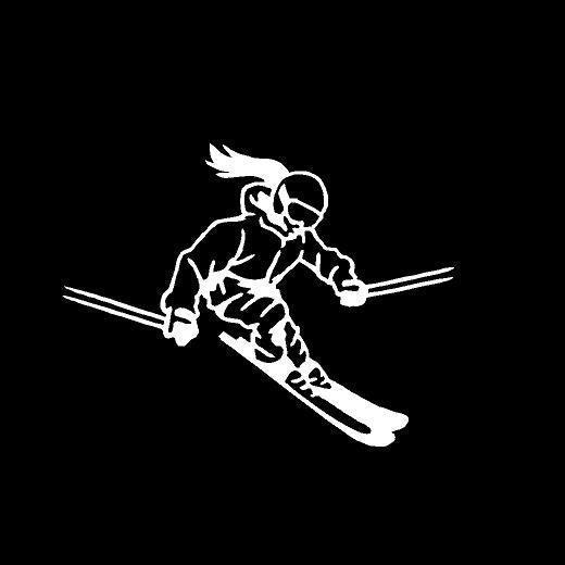 snow skier girl decal car truck window skiing sticker