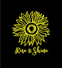 Load image into Gallery viewer, Rise and Shine Sunflower decal custom vinyl car truck window Flower sticker