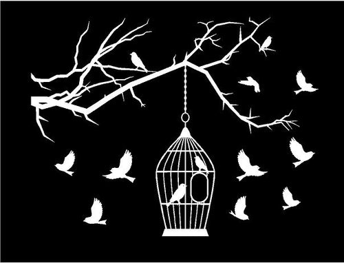Bird cage birds on branch laptop decal sticker
