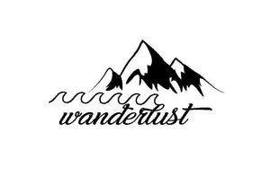 wanderlust mountains water traveler decal