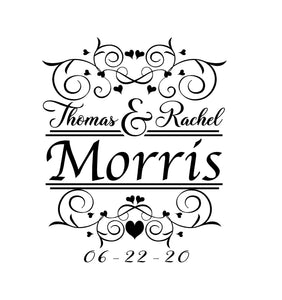 Wedding decals for signs and cornhole boards