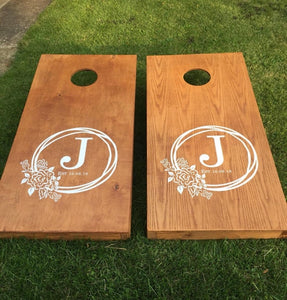 corn hole wedding decal custom initial anniversary stickers