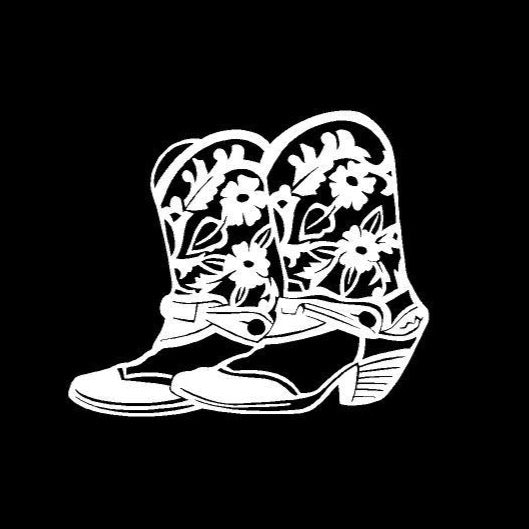cowgirl boots decal car truck window western sticker