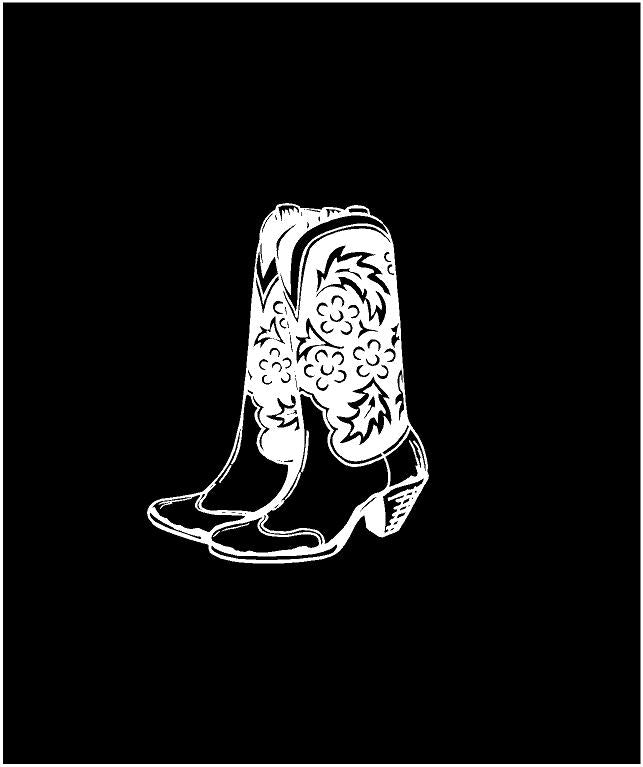 cowgirl boots decal car truck laptop waterbottle western sticker