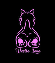 Load image into Gallery viewer, westie love decal pink