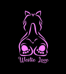 westie love decal pink