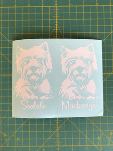westie car decals personalized
