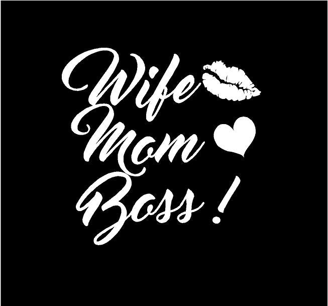 Wife Mom Boss Decal car truck window sticker