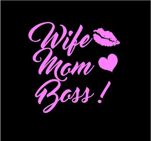 wife mom boss car decal