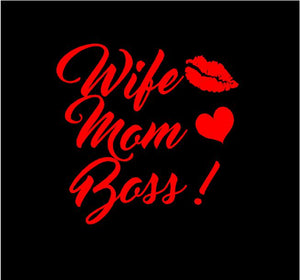 wife mom boss sticker