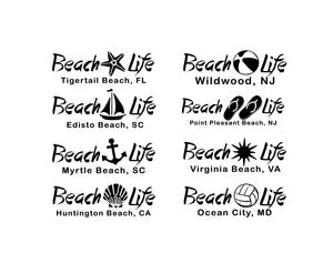beach life customizable car decal