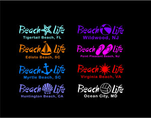 beach life decal customizable car truck window beach lovers sticker