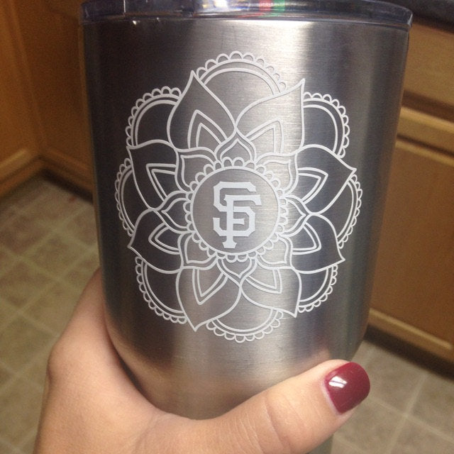 mandala initial decal tervis yeti cup car truck window sticker