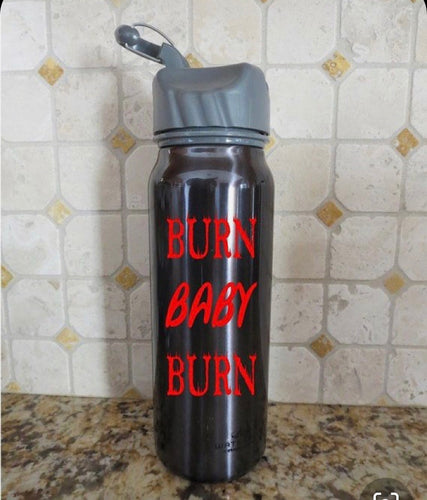 burn baby burn fitness water bottle decal