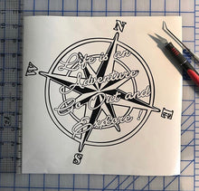 Load image into Gallery viewer, Life is an Adventure Compass Decal Go Out and Explore Custom Vinyl Sticker