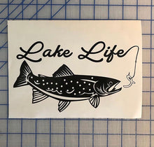 Load image into Gallery viewer, Lake Life Trout Fisherman Decal Custom Vinyl Car Truck Window Sticker