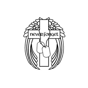 Never Forget Memorial Decal Customizable Angel Wings Cross Military Love Ones Lost Sticker