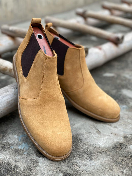 SKU:8011-Camel Suede Cow Leather Chelsea boots - Devogue store