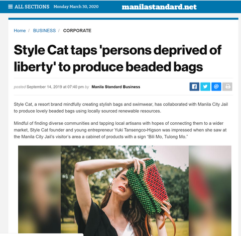 Manila Standard Style Cat taps PDLs to produce beaded bags