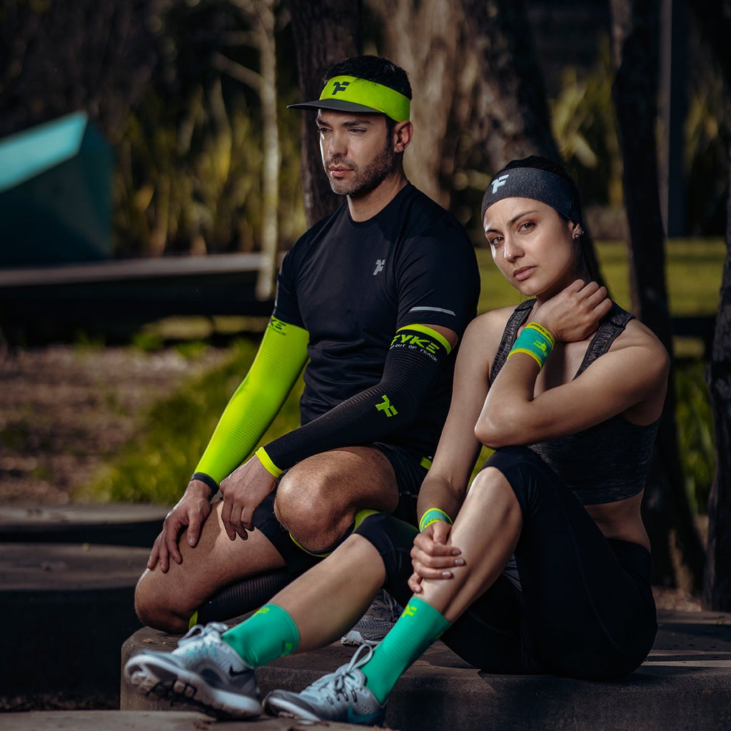 Couple concentrating before fitness activity with Fyke products