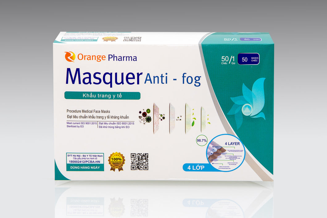 MASQUER ANTI-FOG 4 LAYER DISPOSABLE FACE MASK (50 MASKS)