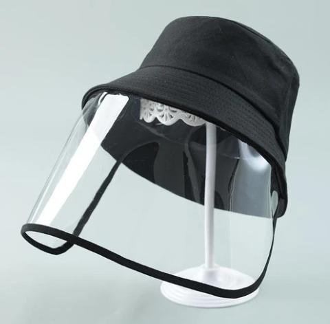 BLACK BUCKET HAT WITH CLEAR PROTECTIVE SHIELD