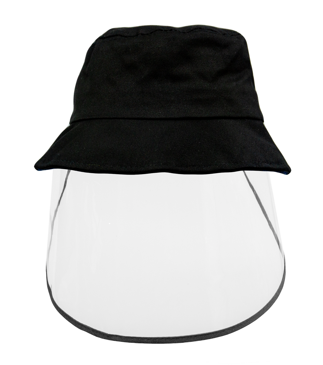 Kids Bucket Hat with Face Shield BLACK