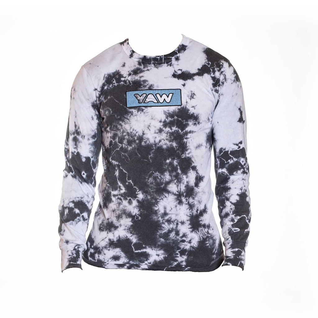 Black and White lightning tie dye thermal with Denim Appliqué - YAW DENIM