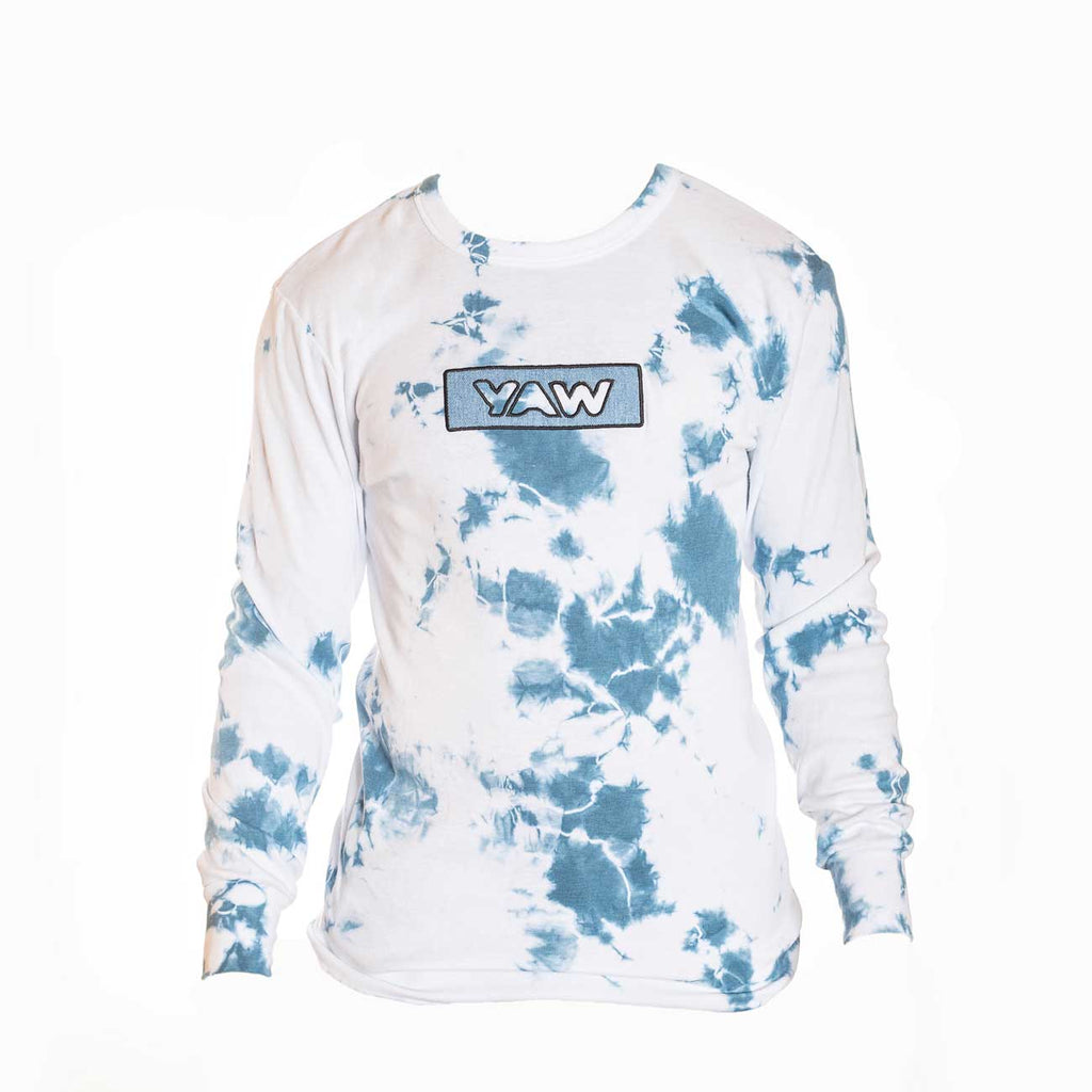 Blue and White Lightning tie dye thermal with Denim Appliqué - YAW DENIM