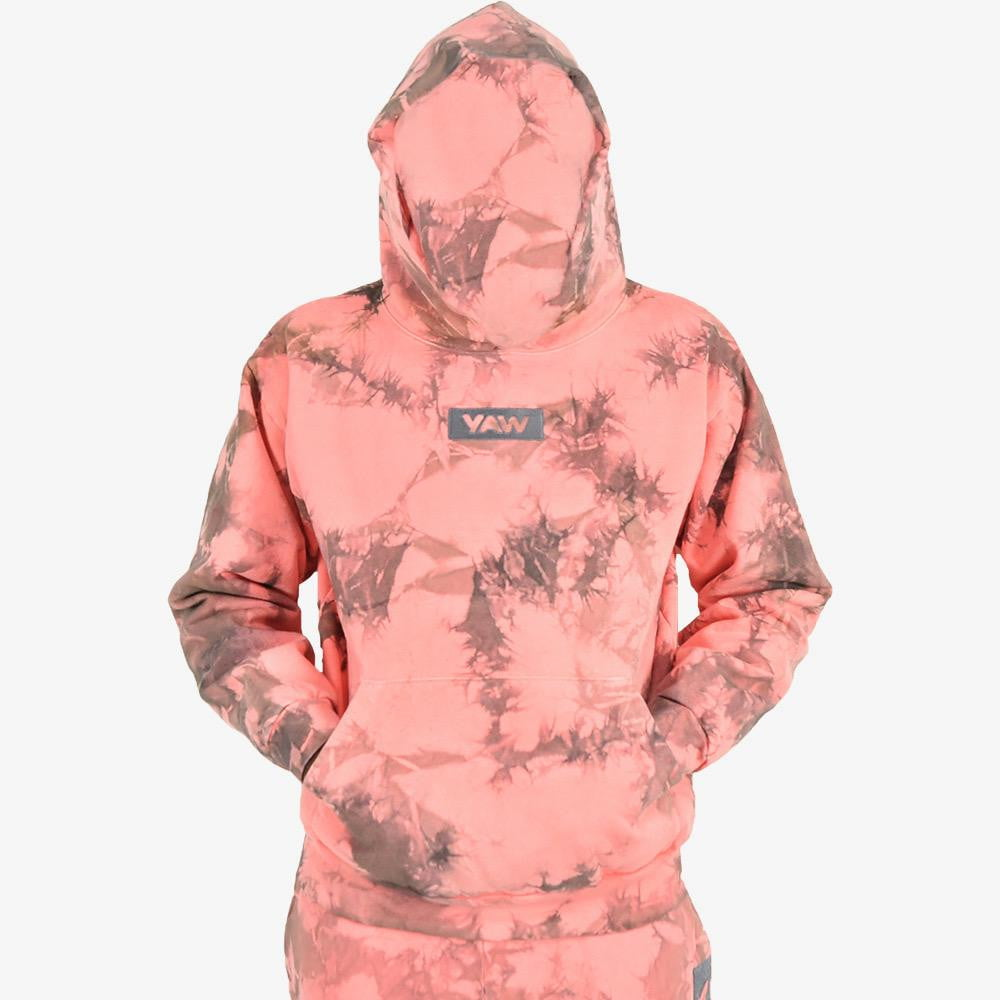 Coral Lighting Tie Dye Pullover Hoodie - YAW DENIM