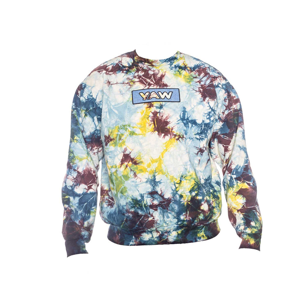 Multi Color Lighting Tie Dye Crew Neck with Denim Appliqué - YAW DENIM