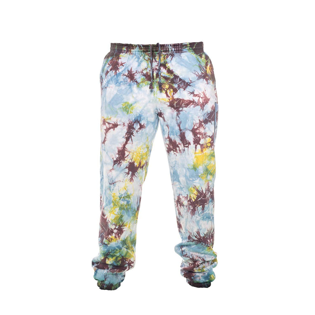 Multi Color Lightning Tie Dye SweatPants with Denim Appliqué - YAW DENIM