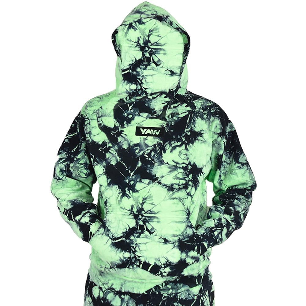 Slime Green Lighting Tie Dye Pullover Hoodie - YAW DENIM